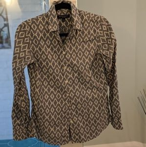 Ikat blue and white collared BR shirt